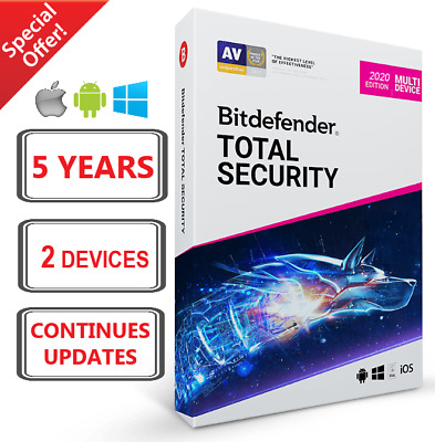 Bitdefender Total Security 2020 | 5 Years 2 Devices | Fast Delivery | Download
