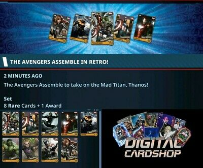 Topps Marvel Collect Card Trader Avengers Assemble in Retro Set of 8 + Award