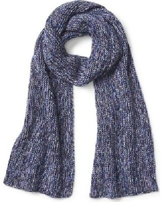 NEW Gap 2 PC Mens Womens Merino Wool Marled Blue Scarf & Gloves Smartphone Tech