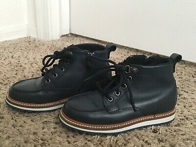 Zara Boy's Genuine Leather Boots Booties Navy Blue Winter Warm Lace Size 29 11.5
