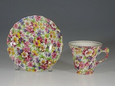 James Kent 'Du Barry' Chintz Floral Handle Tea Cup and Saucer, England c. 1934