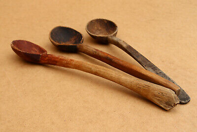 Old Antique Primitive Wooden Wood Spoons Kitchen Tools Paddles Rustic 100 yrs