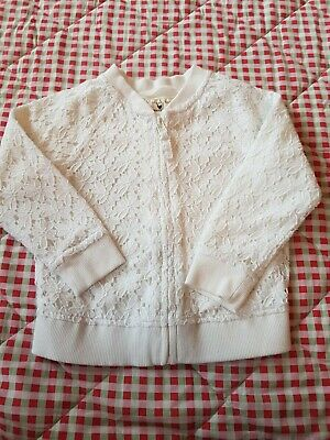Next Girls Zip Up Top White Lace 2-3 Age x14