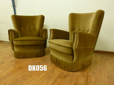 DK056 Pair of Danish Green Velour HIgh-Backed Lounge Chairs Vintage Retro