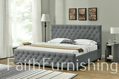 Grey Linen Ottoman Storage Bed w/ Fabric Buttons - Double, King Size,