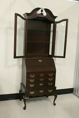 Ethan Allen Queen Anne Style Georgian Court Secretary With Bookcase Lighted