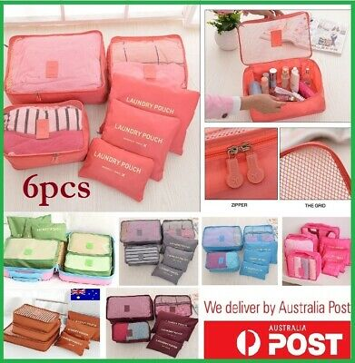 6pcs Packing Cubes Travel Luggage Organiser Clothes Suitcase Storage Bags AUS