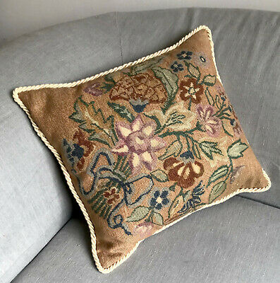 Vintage Needlepoint Cushion with Pad ~ floral ~ embroidery tapestry