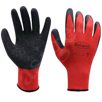 24 Pairs Latex Coated Work Gloves Safety Grip Gardening Builders Construction