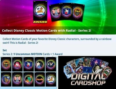 Topps Disney Collect Card Trader Radial Motion Series 2 Set of 9  with Award