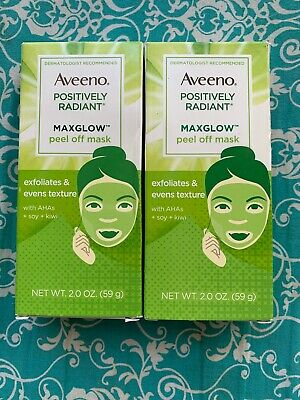 Aveeno MaxGlow Peel Off Face Mask, Kiwi+ Soy Complex 2.0 oz PACK OF 2