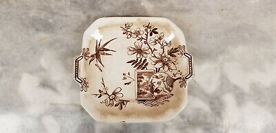 Brown & White Transferware Antique Serving Plate