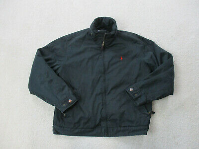 VINTAGE Ralph Lauren Polo Jacket Adult Medium Black Red Pony Lined Coat Mens *