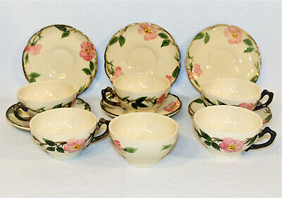 6 Franciscan Pottery Pink Desert Rose Earthenware Cup Saucer Sets California USA