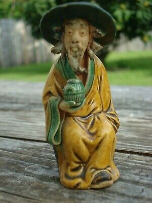 Antique Chinese Shekwan Mudmen Shiwan Sitting Figurine from Late 19th Century