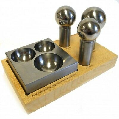 Triad Dapping Set of 3 Polished Doming Punches & Steel block Silversmiths TP1980
