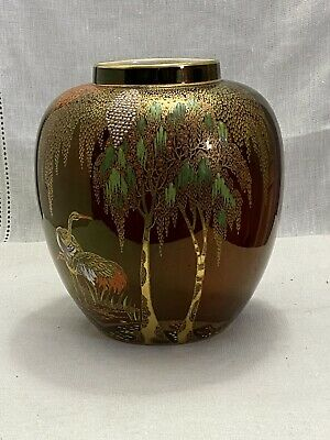 Excellent Carlton Ware Rouge Royal Storks Weaping Willow Ming Vase