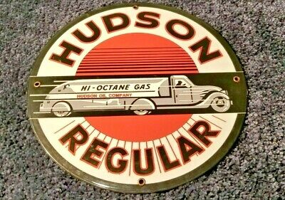"Vintage ""Hudson Motor Oil Tanker Truck 11 3/4"" Porcelain Metal Gasoline Oil Sign"
