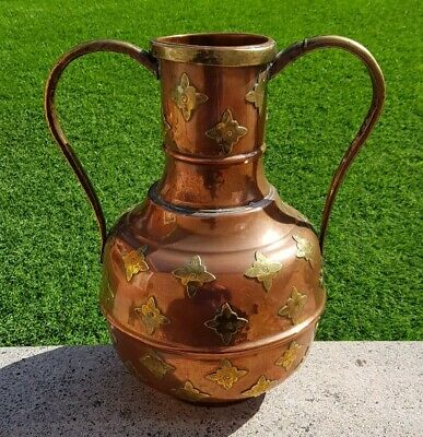 Large antique vintage copper and brass handled vase jug Arts & Crafts Indian