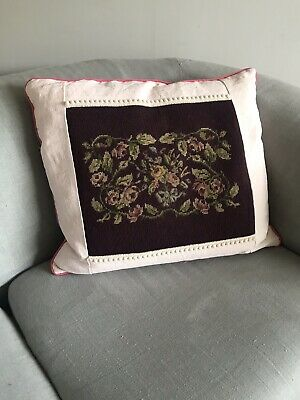 Antique Victorian Needlepoint Cushion ~ embroidery tapestry,Velvet & Linen