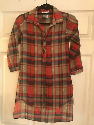 NWOT Bonnie Jean Sag Sheer Greens Reds Long Sleeve Shirt Size Girls 8
