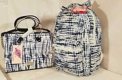 Luv Betsey Johnson Crossbody/Backpack Handbag Blue/white 2 Piece /Free pillow