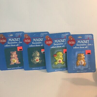Vintage 1985 Care Bears Lot Of 4 MAGNETS Collectible Decorative New Old Stock