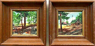 Two Clyde E. Gray Vtg Signed Orig Hand-Painted Tiles W/ Landscape & Farm Scenes