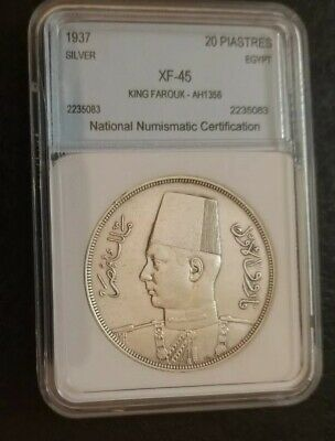 Egypt SILVER  COIN KING FAROUK 20 PIASTRES ISSUED 1937