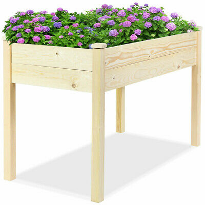 Raised Wooden Elevated Planter Vegetable Garden Grow Flower Herb Box Patio NEW