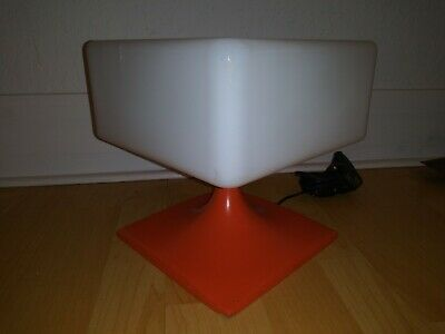 Square ORANGE Glass Shade Laurel Table Lamp Mid Century Modern Eames Era VINTAGE