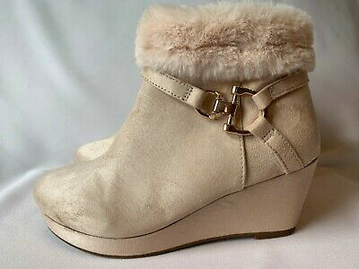 River Island 2 35 Girls Ankle Boots Wedge Heel Nude Faux Suede Fur Trim Fab Con