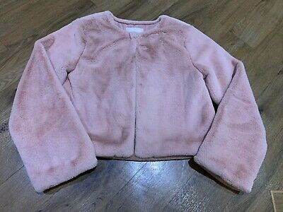 10y STUNNING GIRLS FUR COAT JACKET SUPERSOFT BLUSH NUDE TRENDY MODERN IMMACULATE
