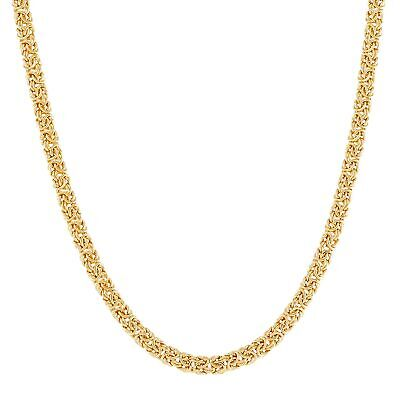 Italian-Made Sleek Byzantine Link Necklace in 18K Gold-Plated Bronze, 18""