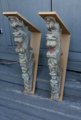 Pair Large Antique Asian Indonesian Thai Architectural Wood Carvings Sculpture