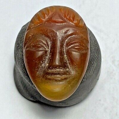 ANCIENT TO MEDIEVAL ASSYRIAN CARVED HEAD CARNELIAN SUMERIAN HUMBABA AMULET 8th-7