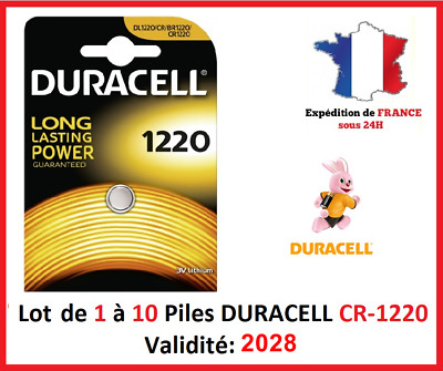 Lot de 1 à 10 Pile CR-1220 / DL-1220 DURACELL bouton Lithium 3V DLC 2028