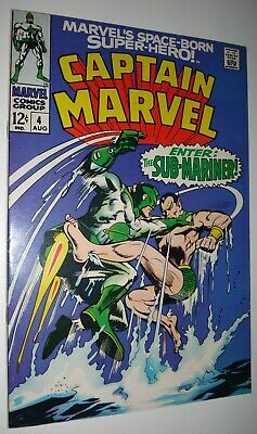 Captain Marvel #4 Sub-Mariner 9.0 White Pages 1968