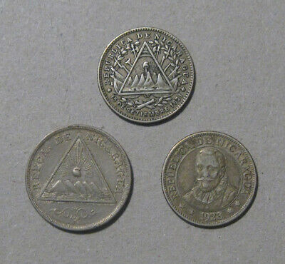 Nicaragua - (3) Nice Coins (1887, 1889, 1828) - Two are Silver