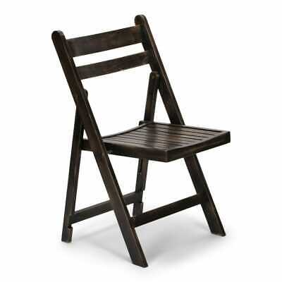 (10 PACK) Antique Black Wood Folding Chair with Slatted Seat - Wedding Chair