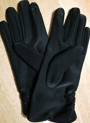 Nwt Womens Time & Tru Black Rouched Driving Tech Touch Gloves One Size Stretch