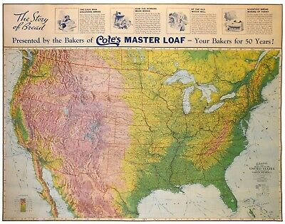 Early 20Th C (1930) Ohman's Us Color Relief Lg Wall Map, W/Cote's Master Loaf Ad