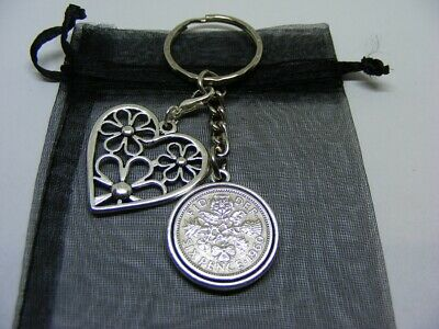 Lucky Sixpence /& Horseshoe Two Sided Keyring 1953-1967 Choose Date SK01