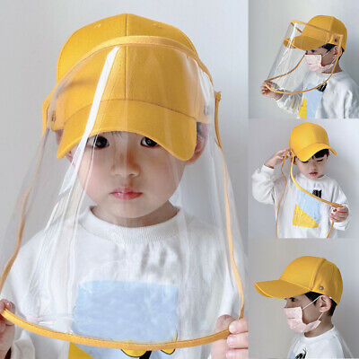 Kids Baseball Cap Anti-fog Clear Full Face Cover Protect Shield Anti-Saliva Hat