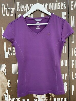 Ladies Adidas T-shirt Top Purple Sports Activewear Gym Stretch Small UK Size 10