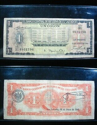 El Salvador 1 Colon 1966 P100 96# Bank Currency Banknote Money