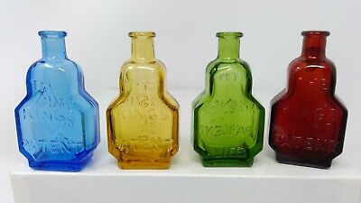Set of 4 Wheaton Balsam of Life miniature bottles - Red, Green, Blue, Yellow
