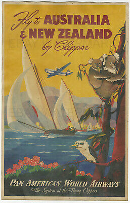 1950s Fly to Australia /& New Zealand Vintage Style Air Travel Poster 18x24