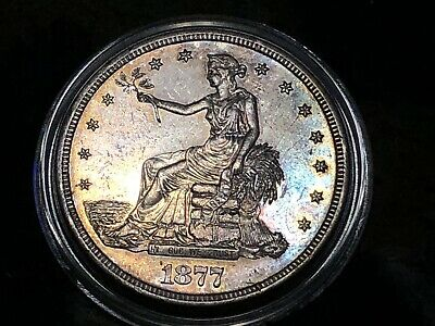 1877 S Trade Dollar Double Die Rev MS Toned Rare U.S. $1 Coin PCGS Recognzed VAM