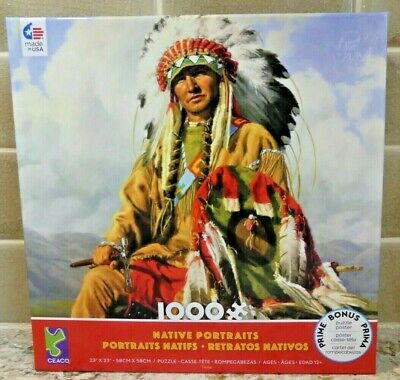 Shamaness Wolf Owl Native American Indian Glitter Glow 3 in 1 Jigsaw Puzzle NIB